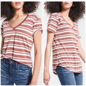 Z Supply   The Florence V-Neck Tee in Terra Cotta